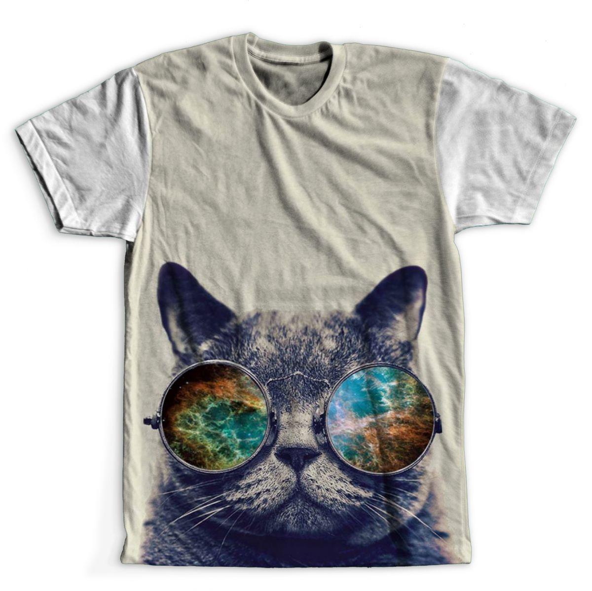 e5cfddc72ef87 Camiseta Gato de óculos na Road Rock